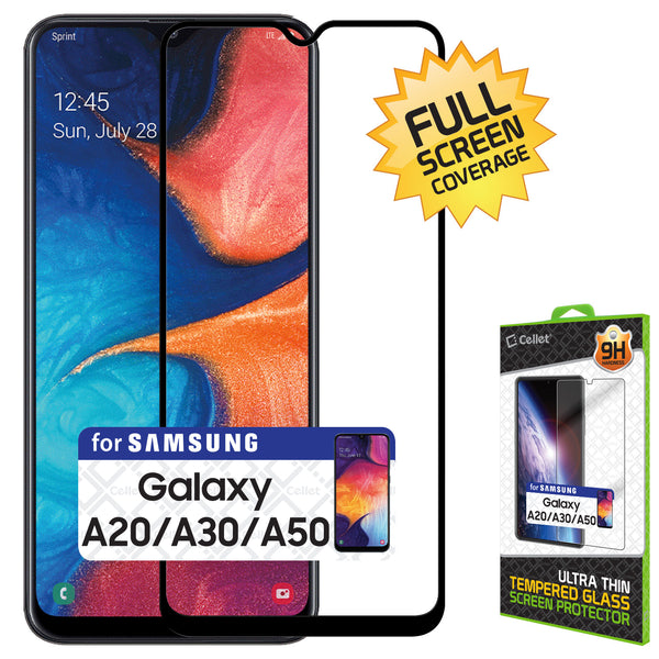 SGSAMA20 - Samsung Galaxy A20 Full Coverage Screen Protector, Premium 3D Full Coverage Tempered Glass Screen Protector for Samsung Galaxy A20 by Cellet