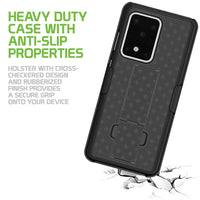 HLSAMS20U - Galaxy S20 Ultra Holster, Shell Holster Kickstand Case with Spring Belt Clip for Samsung Galaxy S20 Ultra – Black