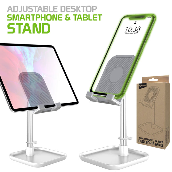 PH150SL - Adjustable Desktop Smartphone and Tablet Stand, Heavy Duty Adjustable Phone Stand with Mini Shelf, Non-Slip Rubberized Grips and Base Compatible to Smartphones, Tablets, iPads and Nintendo Switch – Silver