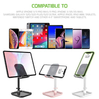 PH150PK - Adjustable Desktop Smartphone and Tablet Stand, Heavy Duty Adjustable Phone Stand with Mini Shelf, Non-Slip Rubberized Grips and Base Compatible to Smartphones, Tablets, iPads and Nintendo Switch – Pink