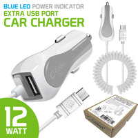 PMICROMSWT - Cellet High Powered 12 Watt (2.4 Amp) Micro USB Car Charger with Extra USB Port and Coiled cable - White