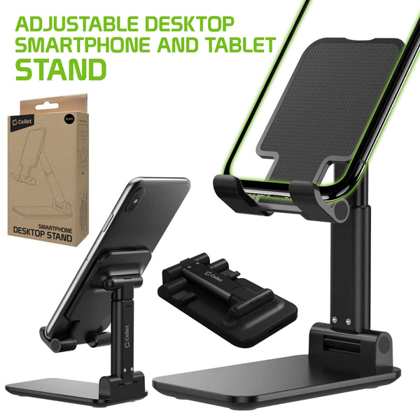 PH60BK -  Adjustable Desktop Smartphone and Tablet Stand, Foldable Heavy Duty Adjustable Phone Stand with Non-Slip Rubberized Grips and Weighted Base Compatible to Smartphones, Tablets, iPads and Nintendo Switch – Black