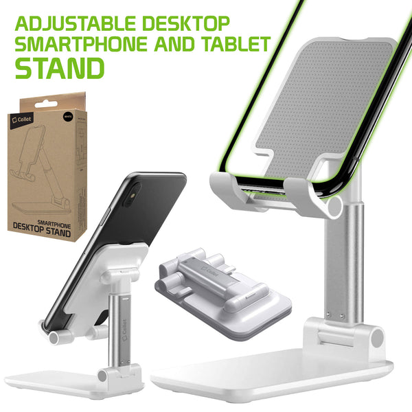 PH60WT - Adjustable Desktop Smartphone and Tablet Stand, Foldable Heavy Duty Adjustable Phone Stand with Non-Slip Rubberized Grips and Weighted Base Compatible to Smartphones, Tablets, iPads and Nintendo Switch – White
