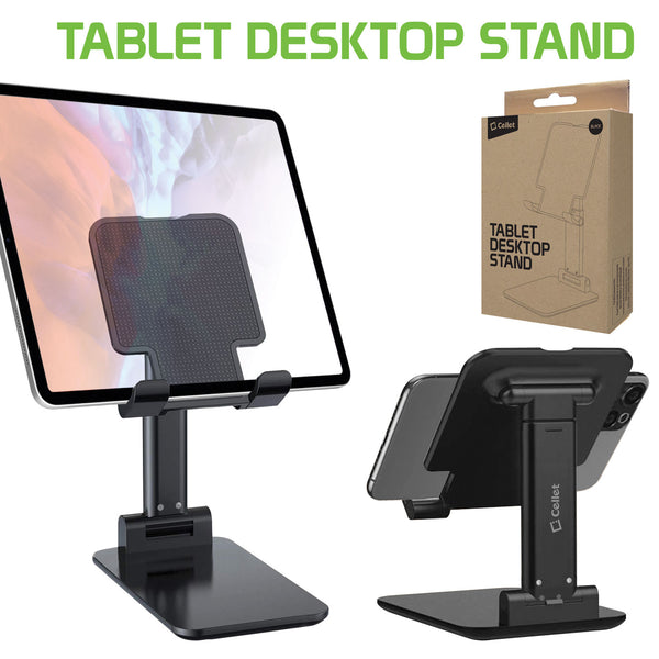 PHTAB60BK - Tablet Desktop Stand, Foldable Heavy Duty Adjustable Smartphone and Tablet Stand with Non-Slip Rubberized Grips and Weighted Base Compatible to Smartphones, Tablets, iPads and Nintendo Switch – Black