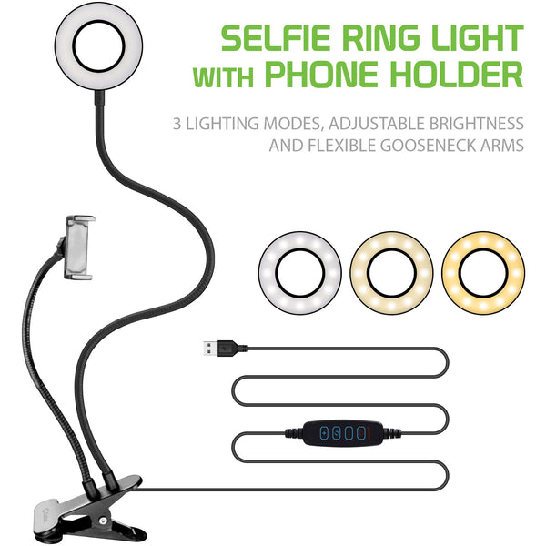 RINGLIGHT-Selfie Ring Light with Phone holder, USB Powered LED Ring Light and Phone Holder with 3 Lighting Modes, Adjustable Brightness and Flexible Gooseneck Arms for Live streaming, Video conferences, Filming, Pictures Compatible to iPhones and Androids