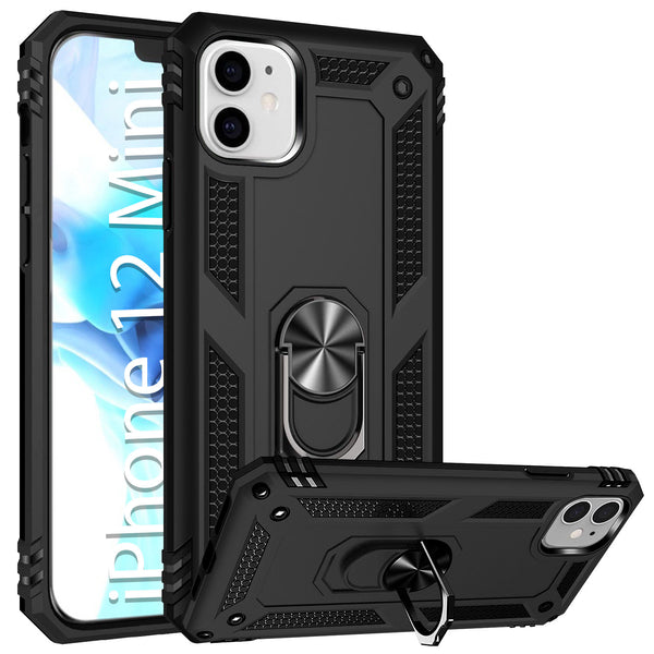 CCIPH12IFBK - Cellet Heavy Duty iPhone 12 Mini Combo Case, Shockproof Case with Built in Ring, Kickstand and Magnet for Car Mounts Compatible to Apple iPhone 12 Mini – Black