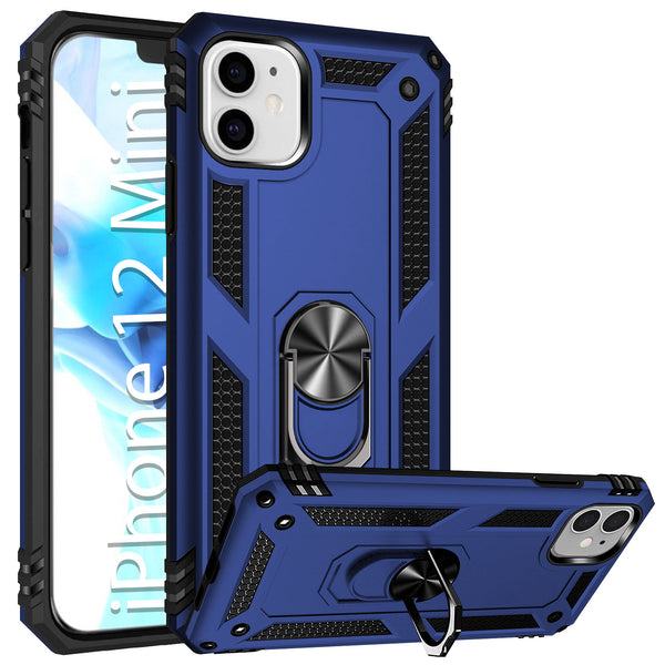 CCIPH12IFBL - Cellet Heavy Duty iPhone 12 Mini Combo Case, Shockproof Case with Built in Ring, Kickstand and Magnet for Car Mounts Compatible to Apple iPhone 12 Mini – Blue