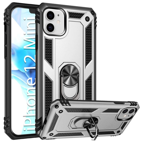 CCIPH12IFSL - Cellet Heavy Duty iPhone 12 Mini Combo Case, Shockproof Case with Built in Ring, Kickstand and Magnet for Car Mounts Compatible to Apple iPhone 12 Mini – Silver