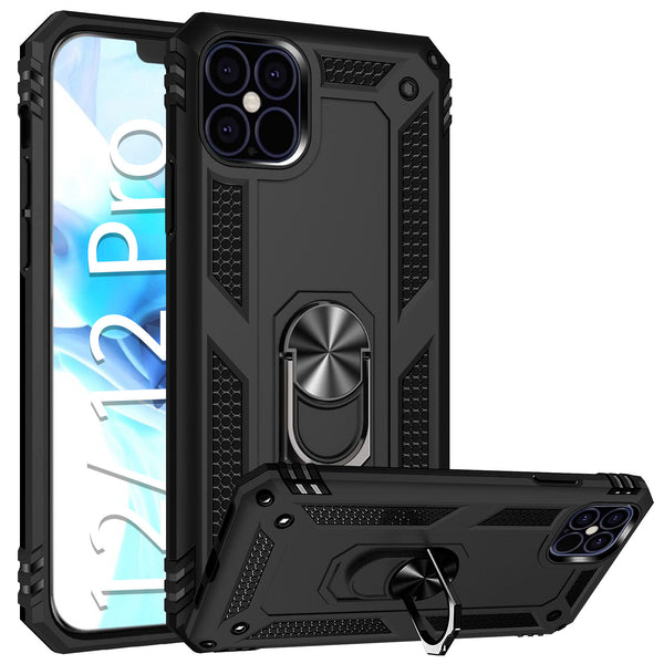 CCIPH12PIFBK - Cellet Heavy Duty iPhone 12 / 12 Pro Combo Case, Shockproof Case with Built in Ring, Kickstand and Magnet for Car Mounts Compatible to Apple iPhone 12 / 12 Pro – Black