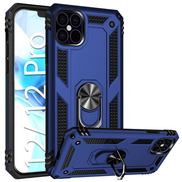 CCIPH12PIFBL - Cellet Heavy Duty iPhone 12 / 12 Pro Combo Case, Shockproof Case with Built in Ring, Kickstand and Magnet for Car Mounts Compatible to Apple iPhone 12 / 12 Pro – Blue