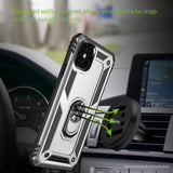CCIPH12IFSL - Cellet Heavy Duty iPhone 12 Combo Case, Shockproof Case with Built in Ring, Kickstand and Magnet for Car Mounts Compatible to Apple iPhone 12 – Silver