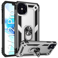 CCIPH12PIFSL - Cellet Heavy Duty iPhone 12 / 12 Pro Combo Case, Shockproof Case with Built in Ring, Kickstand and Magnet for Car Mounts Compatible to Apple iPhone 12 / 12 Pro – Silver