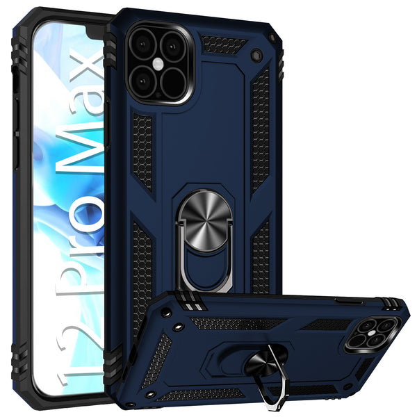 CCIPH12PMIFBL - Cellet Heavy Duty iPhone 12 Pro Max Combo Case, Shockproof Case with Built in Ring, Kickstand and Magnet for Car Mounts Compatible to Apple iPhone 12 Pro Max – Blue
