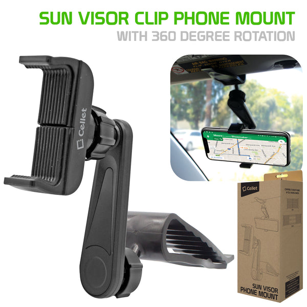 "PH710 - Sun Visor Phone Mount, Sun Visor Clip Phone Mount Holder with 360 Degree Rotation Compatible to iPhone 12 Pro Max, 12 Pro, 12, Samsung Galaxy Note 20, 20 Plus and Other 4.7"" Devices"