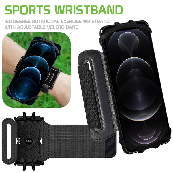 NEOARM490 - Sports Wristband, 180 Degree Rotational Exercise Wristband with Adjustable Velcro Band for Jogging, Biking and Hiking Compatible to Apple iPhone 11/11 Pro/11 Pro Max, Samsung Galaxy S20/S20 Plus/S20 Ultra and other 4-6 inch Phones - Black