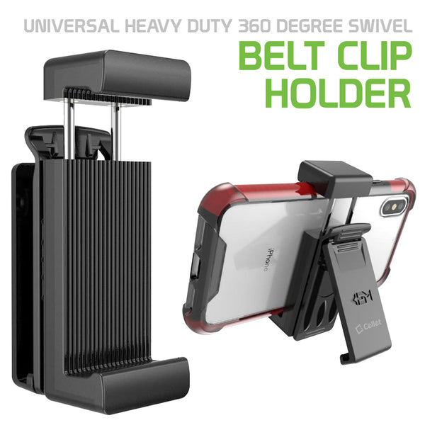 CLIPHDB - Cellet Universal Heavy Duty 360 degree Swivel Belt Clip Holder Compatible to iPhone 12 Pro Max, 12 Pro, 12, Samsung Galaxy Note 20, 20 Plus and more