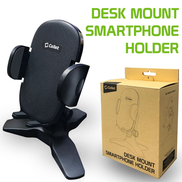 PHW100 - Desktop Smartphone Holder, Adjustable Phone Stand with One Touch Arm release Button, Non-Slip Rubberized Grips and 360 Degree Rotation Compatible to iPhone 12 Pro Max, 12 / 12 Pro, 12 Mini, Samsung Galaxy S21 / S21 Plus, S21 Ultra and More