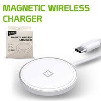 MAGM10 - Magnetic Wireless Charger, 15 Watt Fast Charging Magnetic Wireless Charger Compatible to iPhone 12, 12 Pro, 12 Pro Max and 12 Mini and Other QI Enabled Devices (USB-C AC Adapter Not Included) - White