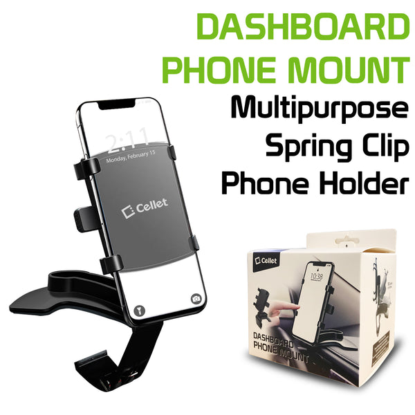 PHD280 - Multipurpose Spring Clip Phone Holder, Dashboard, Sun Visor & Rear View Mirror Clip Mount with Heavy Duty Spring Base, 360° Cradle Rotation Compatible to iPhone 12 Pro Max, 12 Pro, 12 Mini, Samsung Galaxy S21 / S21 Plus, S21 Ultra & More