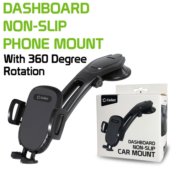PHC82 - Dashboard Phone Mount, Universal Suction Cup Dashboard Phone Holder with 360 Degree Rotation, One Touch Arm release Button & Lock Lever Compatible to  iPhone 12 Pro Max, 12 / 12 Pro, 12 Mini, Samsung Galaxy S21 / S21 Plus, S21 Ultra & More