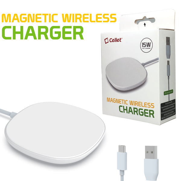 MAGWAL30 - Magnetic Wireless Charger, 15 Watt Fast Charging Magnetic Wireless Charger with Type-C Charging Cable and USB-A Adapter Compatible to iPhone 12, 12 Pro, 12 Pro Max and 12 Mini and Other QI Enabled Devices - White