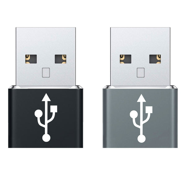 DCDA2 - 2 Pack - USB C Female to USB Male Adapter, Type C to A Data Sync and Charger Cable Adapter Compatible to iPhone 12, MacBook Pro 2019, MacBook Air 2020, iPad Pro 2020, Samsung Galaxy S20, S20 Plus, S20 Ultra, Google Chromebook and More