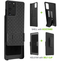 HLSAMS21U - Cellet Galaxy S21 Ultra Holster, Shell Holster Kickstand Case with Spring Belt Clip for Samsung Galaxy S21 Ultra - Black