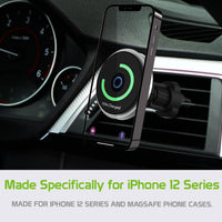 PHMAG12 - MagSafe Wireless Charging Phone Holder, Magnetic Air Vent Wireless Charger Phone Mount with Vent Stabilizer Compatible to iPhone 12, 12 Pro, 12 Pro Max and 12 Mini