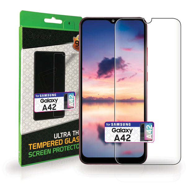 SGSAMA42 - Samsung Galaxy A42 Full Coverage Screen Protector, Premium Ultra Thin Full Coverage Tempered  Glass Screen Protector for Samsung Galaxy A42 by Cellet