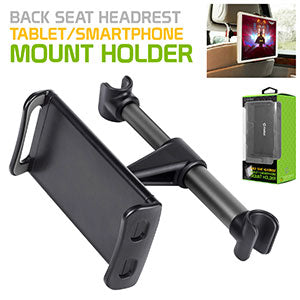 "PH350BK - Universal Back Seat Headrest Tablet/Phone Mount Holder with 360 Degree Rotation for Apple iPad/Pro/Mini, iPhone X/8/8 Plus, Galaxy Tab S3, Note 8, Surface Pro 4, etc. (fits up to 8"") by Cellet - Black"