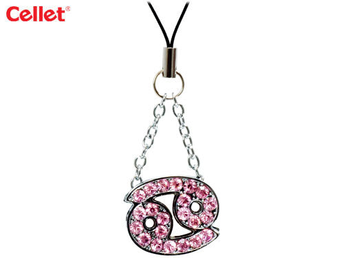 STZO1 - Cellet Phone Strap - Cancer Zodiac Sign With Pink Stones