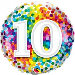 10th Birthday Rainbow Confetti Helium Filled Foil Balloon