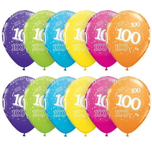 100 Around Tropical Latex Balloons In Assorted Colours x10 (Sold loose)