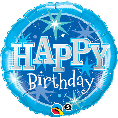 Blue Sparkles Happy Birthday Helium Filled Foil Balloon