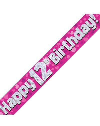 Happy 12th Birthday Pink Holographic Banner