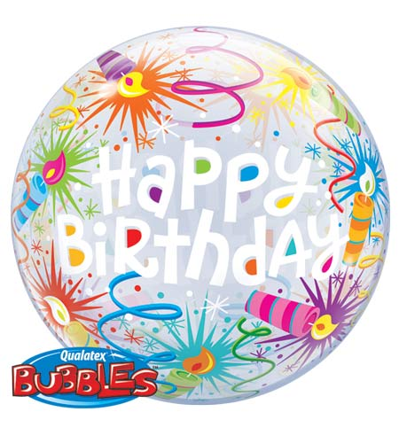 Happy Birthday Helium Filled Single Bubble Balloon
