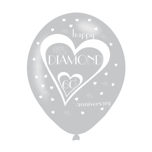 Happy 60th Diamond Anniversary Latex Balloons (6 Pack)