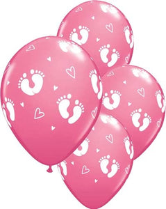 Baby Girl Footprints And Hearts Latex Balloon (Sold loose)