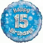 Happy 15th Birthday Blue Helium Filled Foil Balloon