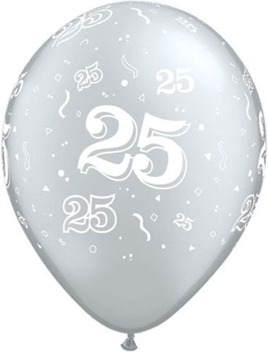 50 Around Silver Latex Balloon (Sold loose)