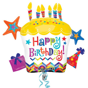Happy Birthday Cupcake Helium Filled Supershape Foil Balloon