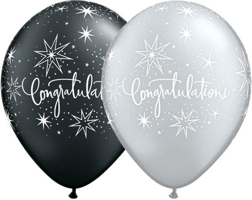Congratulations Black And Silver Latex Balloons x10 (Sold loose)