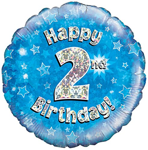2nd Birthday Blue Helium Filled Foil Balloon