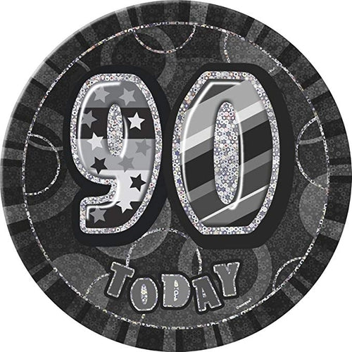 90 Today Black Glitz Jumbo Badge