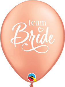 Team Bride Rose Gold Latex Balloons (6 Pack)