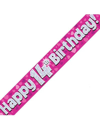 Happy 14th Birthday Pink Holographic Banner