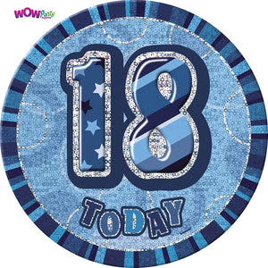 18 Today Blue Glitz Jumbo Badge