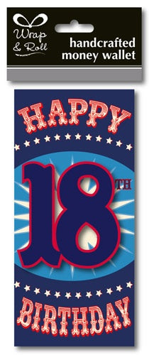Happy 18th Birthday Blue Handcrafted Money Wallet