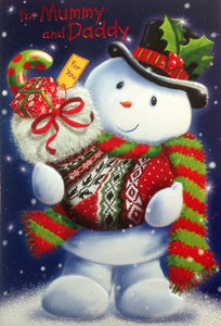 For Mummy And Daddy Snowman Christmas Greeting Card