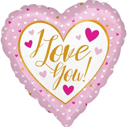 I Love You Pink Heart Shape Helium Filled Foil Balloon